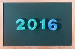 Parola Colourful 2016 al bordo nero come fondo Immagini Stock
