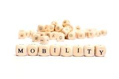 Parola con mobilità dei dadi Fotografie Stock Libere da Diritti