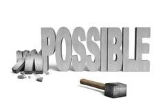 Parola concreta impossibile incrinata 3D con il martello Fotografia Stock Libera da Diritti