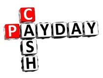 parola dei contanti di giorno di paga delle parole incrociate della rappresentazione 3D sopra fondo bianco illustrazione vettoriale