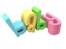 Parola del bambino nel playdough di gomma sveglio del testo 3d Immagine Stock