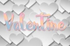 Parola del biglietto di S. Valentino sul simbolo di carta del cuore di amore del biglietto di S. Valentino Fotografia Stock