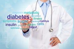 Parola del diabete di scrittura di medico Immagini Stock