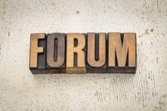 Parola del forum nel tipo di legno Fotografie Stock Libere da Diritti