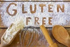 Parola del glutine con fondo di legno Fotografie Stock