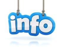Parola del testo di informazioni 3D che appende sul fondo bianco Immagini Stock Libere da Diritti