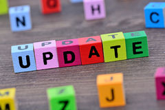 Parola dell'aggiornamento sulla tavola fotografie stock libere da diritti