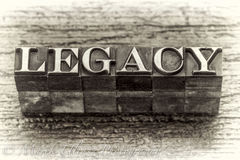 Parola dell'eredità nel tipo del metallo dello scritto tipografico fotografie stock libere da diritti