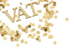 Parola dell'IVA e monete di oro isolate sul illustra bianco del fondo 3D illustrazione vettoriale