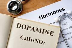 Parola della dopamina scritta sul libro immagine stock libera da diritti