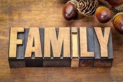 Parola della famiglia nel tipo di legno d'annata Fotografie Stock Libere da Diritti