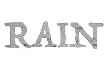 Parola della PIOGGIA con l'illustrazione grigia delle gocce di pioggia Fotografie Stock