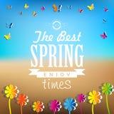 Parola della primavera, fondo astratto dei fiori di carta - butterfli di carta Immagini Stock Libere da Diritti