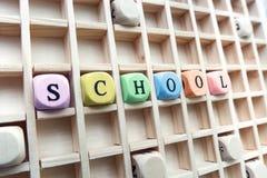 Parola della scuola fatta con lo sviluppo dei blocchi di legno Immagine Stock