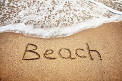 Parola della spiaggia sulla sabbia fotografia stock libera da diritti