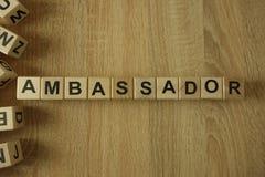 Parola di ambasciatore dai blocchi di legno fotografia stock libera da diritti