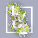 Parola di amore fatta della camomilla o di Daisy Flowers And Leaves Vettore Fotografia Stock
