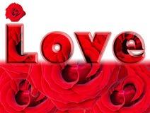 Parola di amore - le rose rosse progettano sopra bianco Fotografie Stock Libere da Diritti