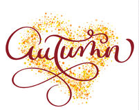 Parola di autunno sul fondo dell'oro nella forma di cuore Illustrazione disegnata a mano d'annata EPS10 di vettore dell'iscrizion royalty illustrazione gratis