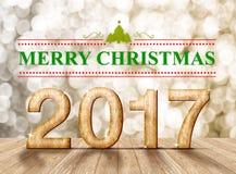 Parola di Buon Natale 2017 nella stanza di prospettiva con lo sparklin dell'oro Immagini Stock Libere da Diritti