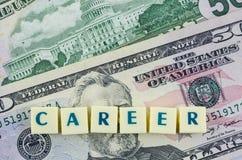 Parola di carriera sul fondo del dollaro Concetto di finanze Fotografie Stock Libere da Diritti