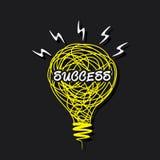 Parola di Cess su progettazione della lampadina di schizzo Fotografia Stock