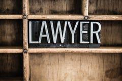 Parola di Concept Metal Letterpress dell'avvocato in cassetto fotografia stock libera da diritti