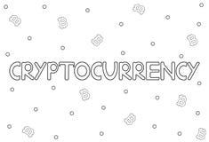 Parola di Cryptocurrency ed icone di Bitcoin sui precedenti bianchi Immagini Stock