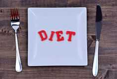 Parola di dieta sul piatto fotografia stock libera da diritti