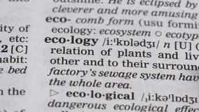 Parola di ecologia indicata nella protezione dell'ambiente e nella conservazione della terra di vocabolario stock footage