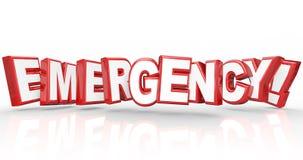 Parola di emergenza nelle lettere rosse 3d Fotografie Stock