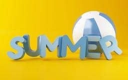 parola di estate 3d con beach ball Fotografia Stock Libera da Diritti