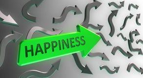 Parola di felicità sulla freccia verde Fotografie Stock