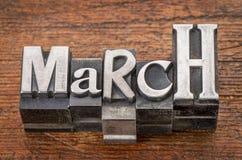 Parola di marzo nel tipo del metallo Immagine Stock