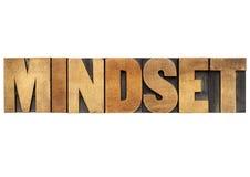 Parola di Mindset nel tipo di legno Fotografia Stock Libera da Diritti