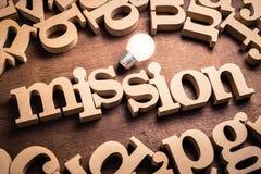 Parola di missione sulla Tabella immagine stock libera da diritti