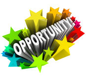 Parola di opportunità in Starburst - nuovi cambiamenti emozionanti Fotografia Stock Libera da Diritti