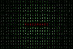 Parola di Ransomware con fondo scuro di tecnologia o nero digitale con il codice binario nel colore verde chiaro 1001 royalty illustrazione gratis