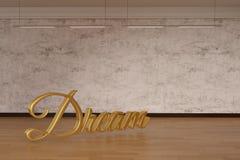Parola di sogno sul pavimento di legno illustrazione 3D fotografie stock