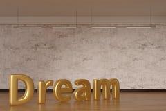 Parola di sogno sul pavimento di legno illustrazione 3D immagini stock