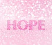 Parola di speranza per consapevolezza del cancro al seno Immagini Stock