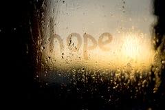 Parola di speranza sulla finestra Fotografia Stock Libera da Diritti
