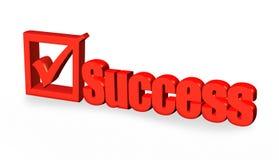 Parola di successo e segno rossi della tacca Fotografie Stock Libere da Diritti