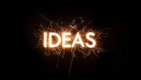 Parola di titolo di IDEA in stella filante d'ardore Immagine Stock