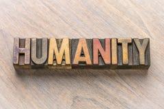Parola di umanità nel tipo di legno fotografie stock
