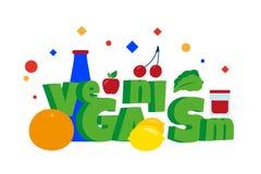 Parola di veganismo Alimento sano organico Limone, pompelmo, mela, insalata e più illustrazione vettoriale