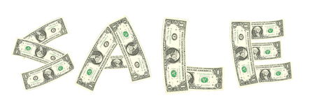Parola di vendita dalla banconota in dollari Immagine Stock Libera da Diritti