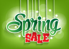 Parola di vendita della primavera che appende con le corde Fotografie Stock