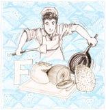 Parola di verdure e cuoco unico dell'alimento che cucinano progettazione sostituta del fumetto Immagine Stock