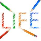 Parola di vita disegnata con le matite Fotografia Stock